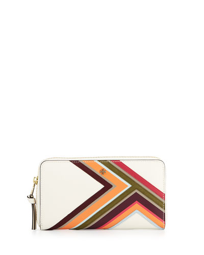 Robinson Multi-Stripe Continental Wallet, New Ivory