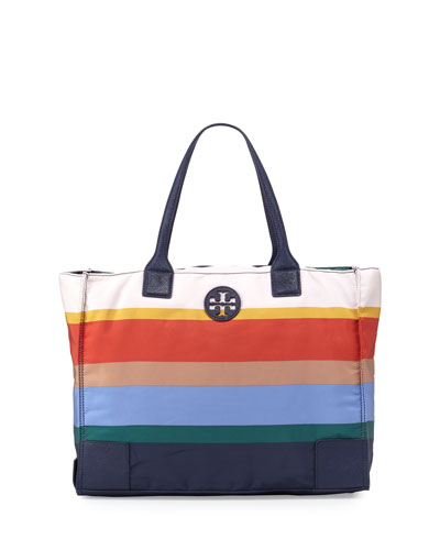 Ella Printed Packable Tote Bag, Journey Stripe