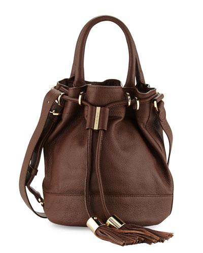 Vicki Leather Bucket Bag, Chocolate