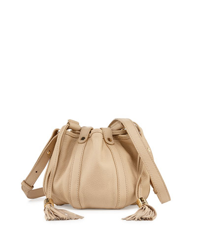 Small Leather Drawstring Bucket Bag, Sand Shell