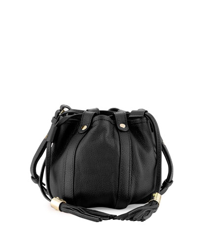 Small Leather Drawstring Bucket Bag, Black
