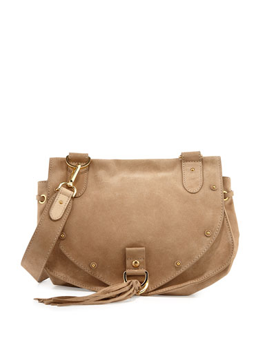 Suede Tassel-Flap Crossbody Bag, Sand Shell