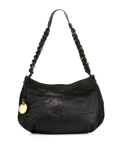 Braided Leather Hobo Bag, Black
