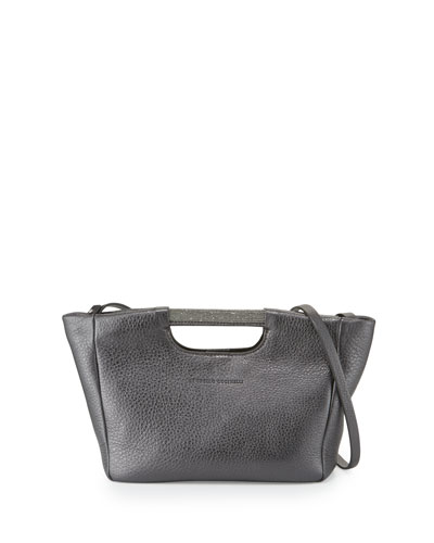 Small Metallic Tote Bag w/Shoulder Strap, Graphite
