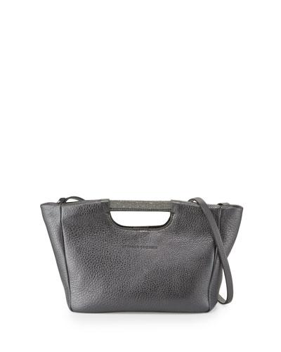 Small Metallic Tote Bag w/Shoulder Strap, Graphite