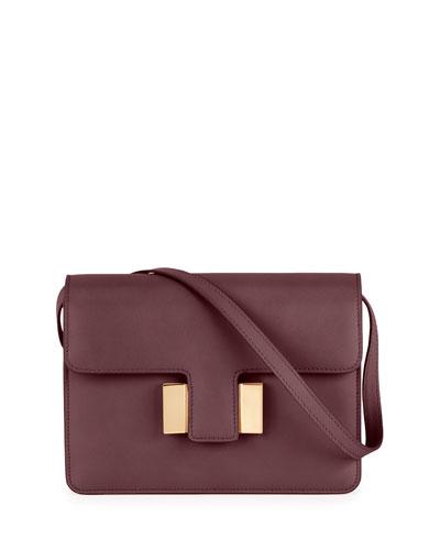 Sienna Small T-Buckle Crossbody Bag, Wine