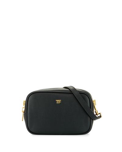 TF Leather Camera Bag with Crossbody Strap, Black