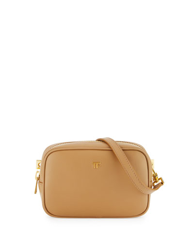 TF Leather Cosmetic Bag with Strap, Tan