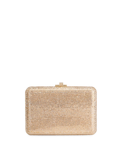 Slim Slide Crystal Evening Clutch Bag, Champagne Jet