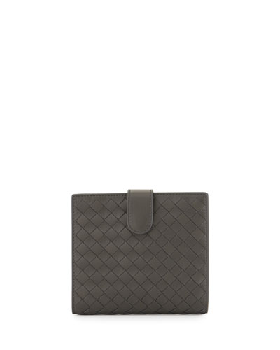 French Woven Leather Wallet, Light Gray