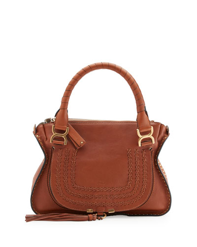 Marcie Medium Studded Satchel Bag, Caramel