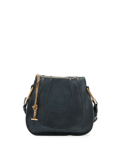 Hayley Small Suede Hobo Bag, Blue