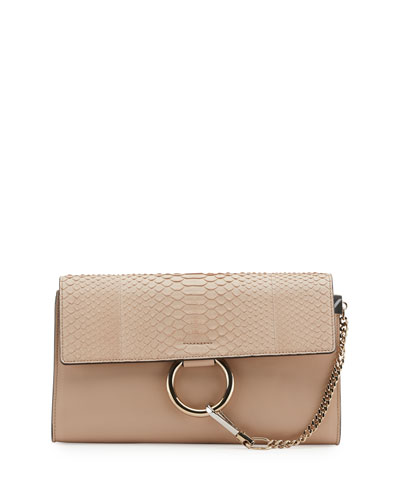 Faye Python and Leather Clutch Bag, Beige