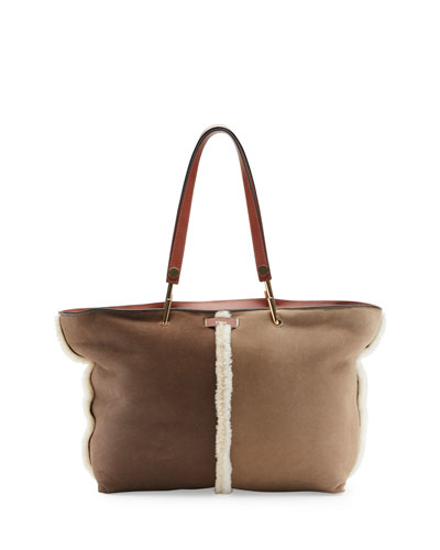 Keri Medium Shearling Tote Bag, Brown