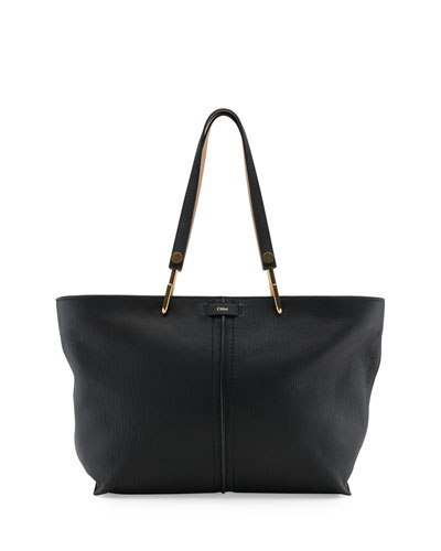 Keri Medium Grained Leather Tote Bag, Black