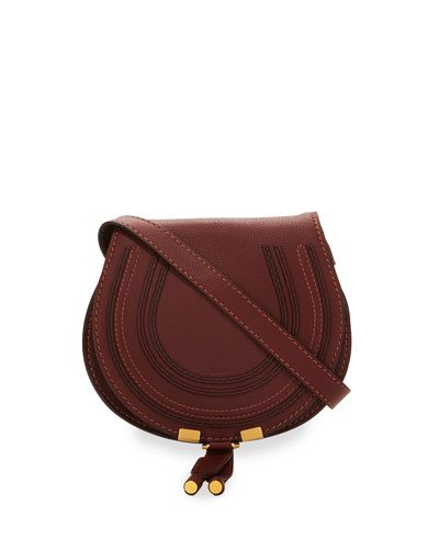Marcie Small Leather Crossbody Bag, Bordeaux