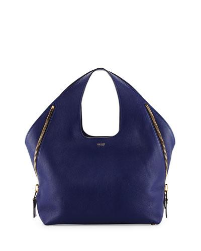 Jennifer Side-Zip Leather Hobo Bag, Cobalt