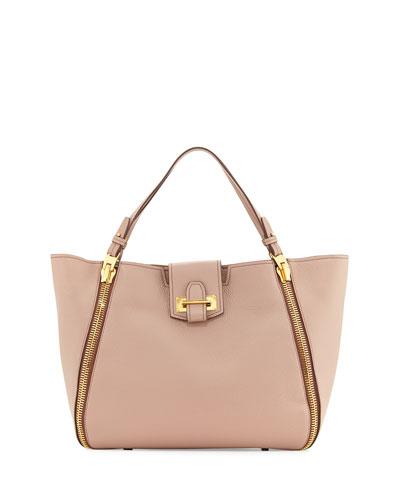 Sedgewick Medium Leather Zip-Trim Tote Bag, Blush