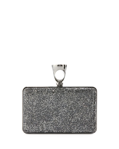 Ring Crystal Glass Minaudiere Clutch Bag, Graphite