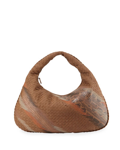 Veneta Large Shadow-Embroidered Snake/Cervo Hobo Bag, Beige