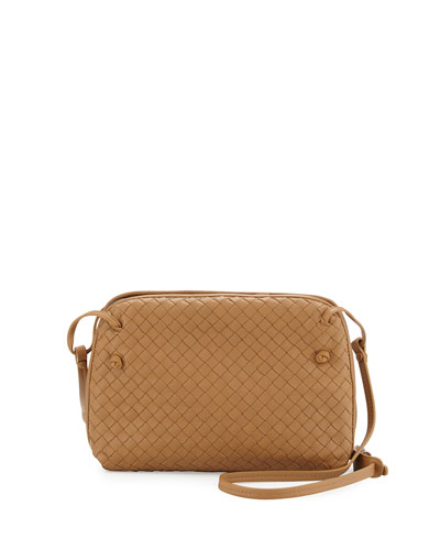 Intrecciato Double-Compartment Bag, Camel