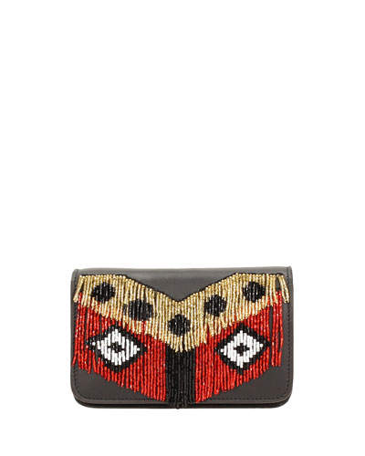Micro Janis Disco Fringe Clutch Bag, Black
