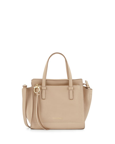 Amy Small Gancio Leather Tote Bag, New Bisque