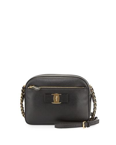 Lydia Leather Bow Camera Bag, Black (Nero)