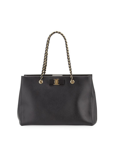 Melike Leather Bow Tote Bag, Black (Nero)