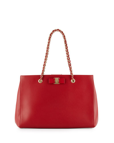 Melike Leather Tote Bag, Rosso