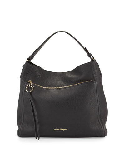 Ally Leather Hobo Bag, Black (Nero)