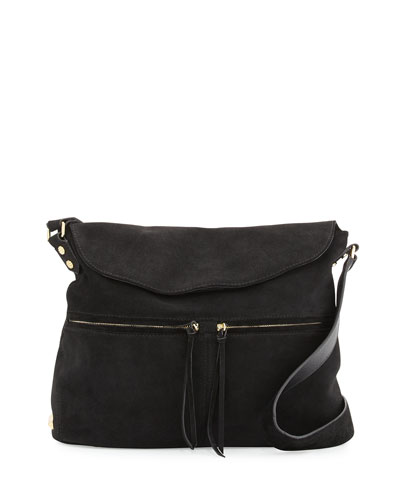 James Suede Crossbody Bag, Black