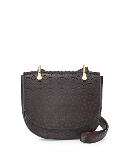 Zoe Perforated Leather Saddle Bag, Black/Wine