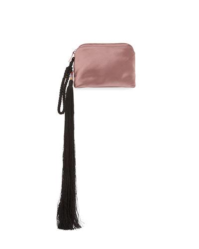 Satin Tassel Detail Wristlet Bag, Pink