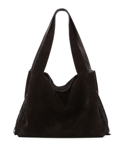 Duplex Suede Satchel Bag, Black