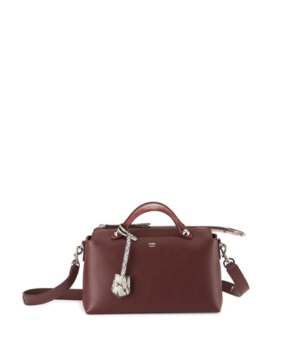 By the Way Small Leather & Snakeskin Satchel Bag, Bordeaux
