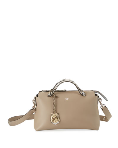 By the Way Small Leather & Snakeskin Satchel Bag, Light Gray
