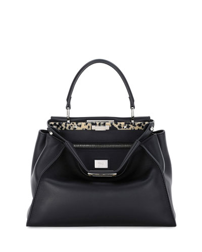 Medium Granite Resin Bar Peekaboo Satchel Bag, Black