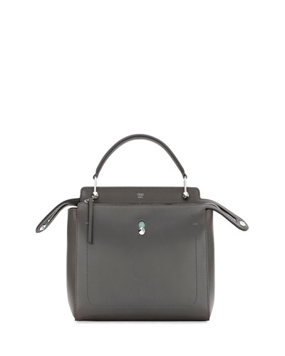 Dotcom Medium Leather Satchel Bag, Dark Gray