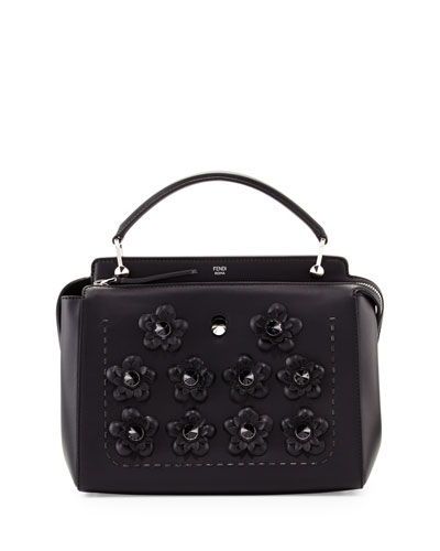 Dotcom Medium Flower Studded Satchel Bag, Black