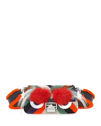 Baguette Monster Mixed-Fur Shoulder Bag, Orange Multi