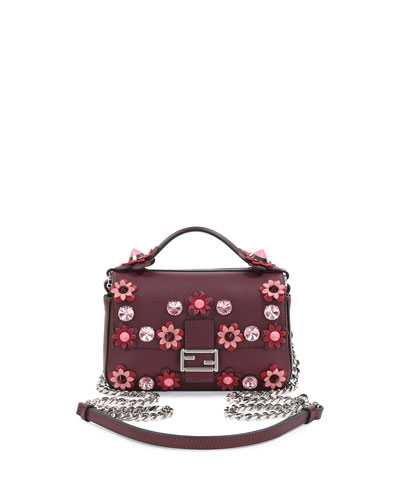 Baguette Micro Double-Sided Flower Bag, Bordeaux
