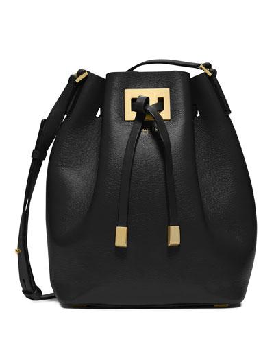 Miranda Medium Drawstring Messenger Bag, Black