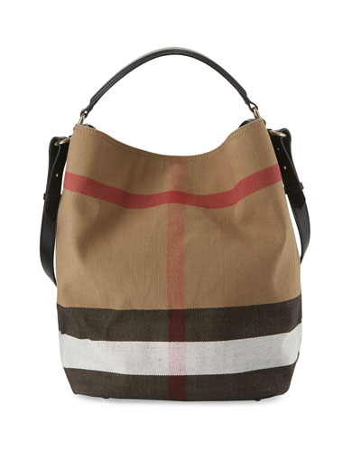 Ashby Medium Canvas Check Hobo Bag, Black