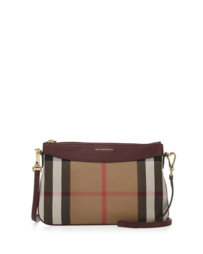 Peyton House Check & Leather Clutch Bag, Mahogany Red