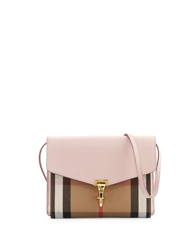 Macken Small Leather & House Check Crossbody Bag, Pale Orchid