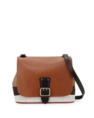 Shellwood Small Check Crossbody Bag, Tan