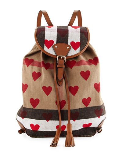 Chiltern Check Hearts Medium Canvas Backpack, Parade Red/Tan
