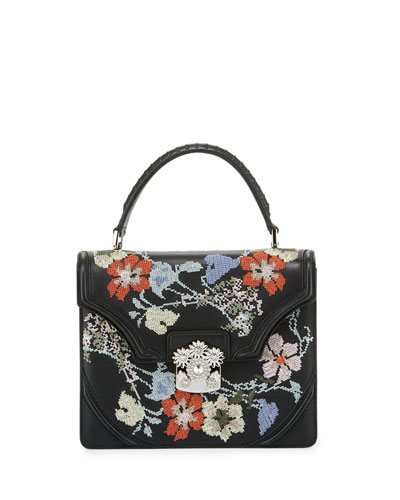 Small Floral Needlepoint Leather Satchel Bag, Black Multi