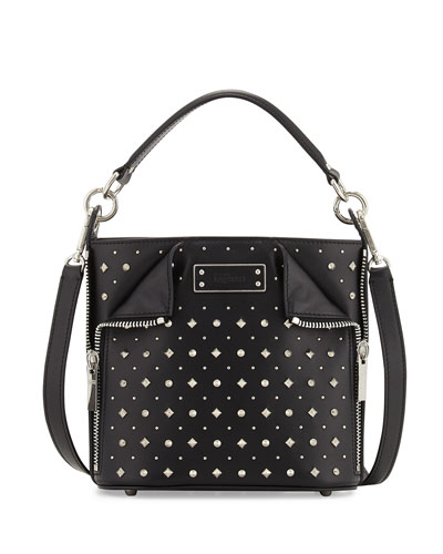 Small Studded Leather Bucket Bag, Black